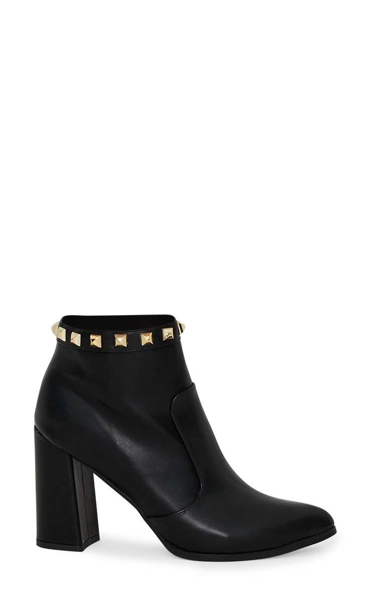 Black Pyramid Studded Block Heel Ankle Boot 3