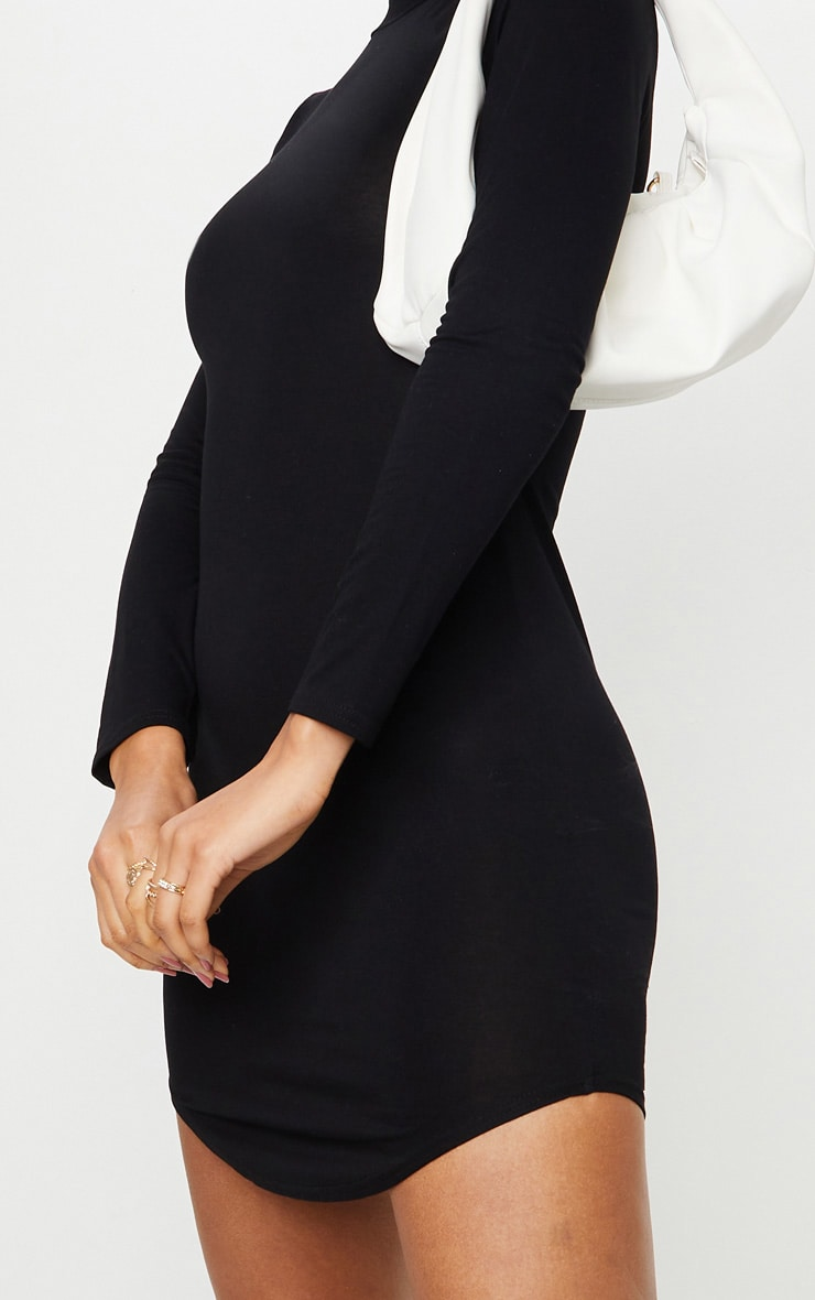 Alby Black Curve Hem High Neck Dress 5