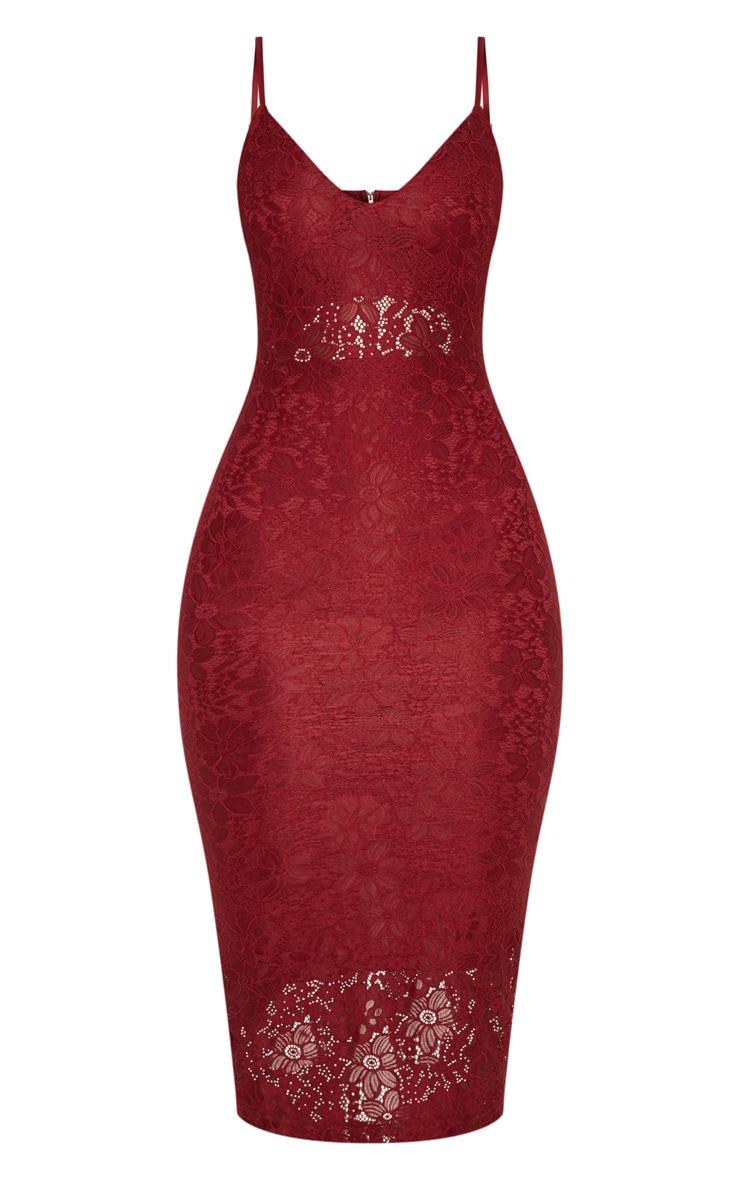 Burgundy Lace Plunge Midi Dress 4