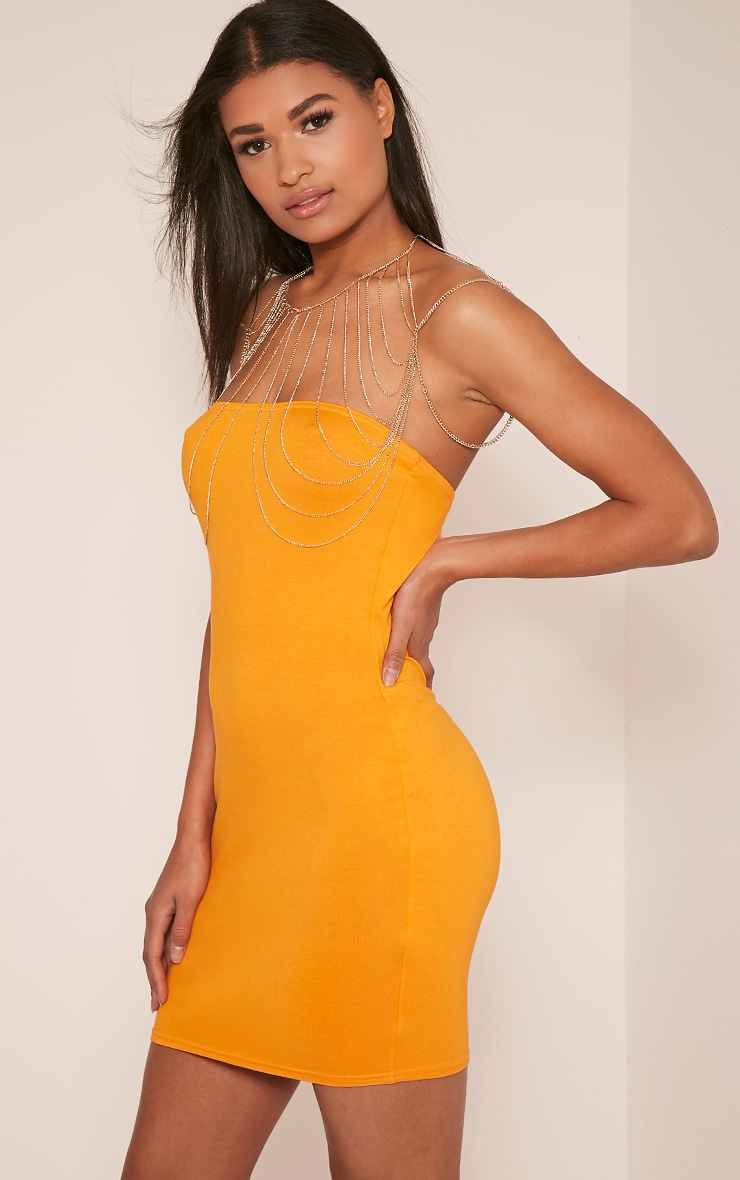 Lorrie Bright Orange Bandeau Bodycon Dress 5