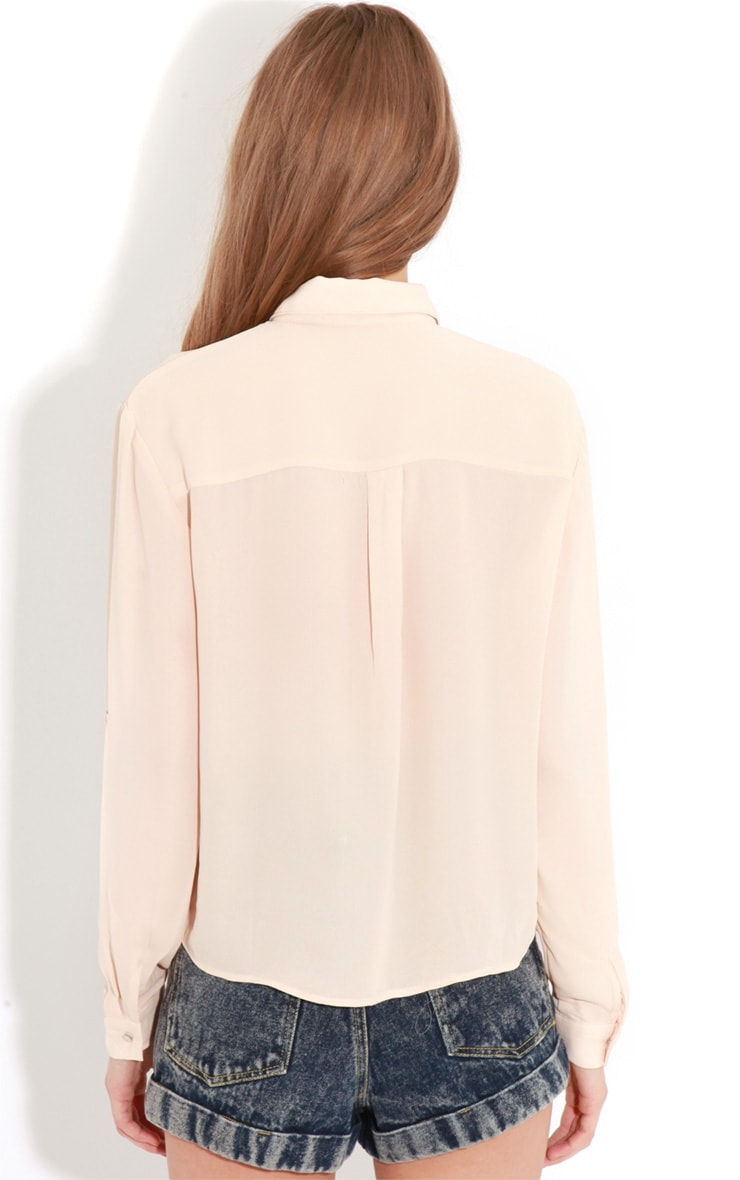 Arya Rose Cropped Pearl Button Blouse 2