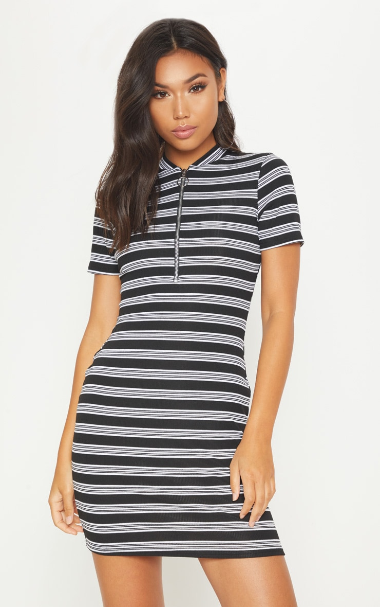 Black Striped Knitted High Neck Rib Dress