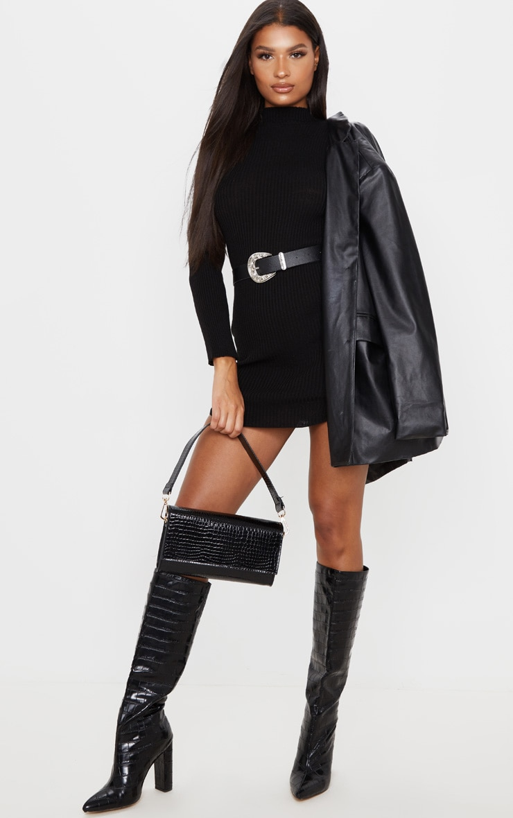 Black High Neck Curve Hem Sweater Dress 5