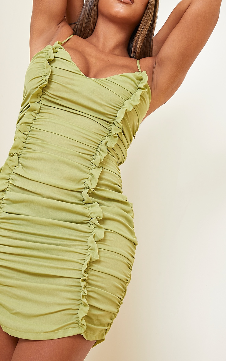 Shape Lime Chiffon Plunge Ruched Bodycon Dress 5