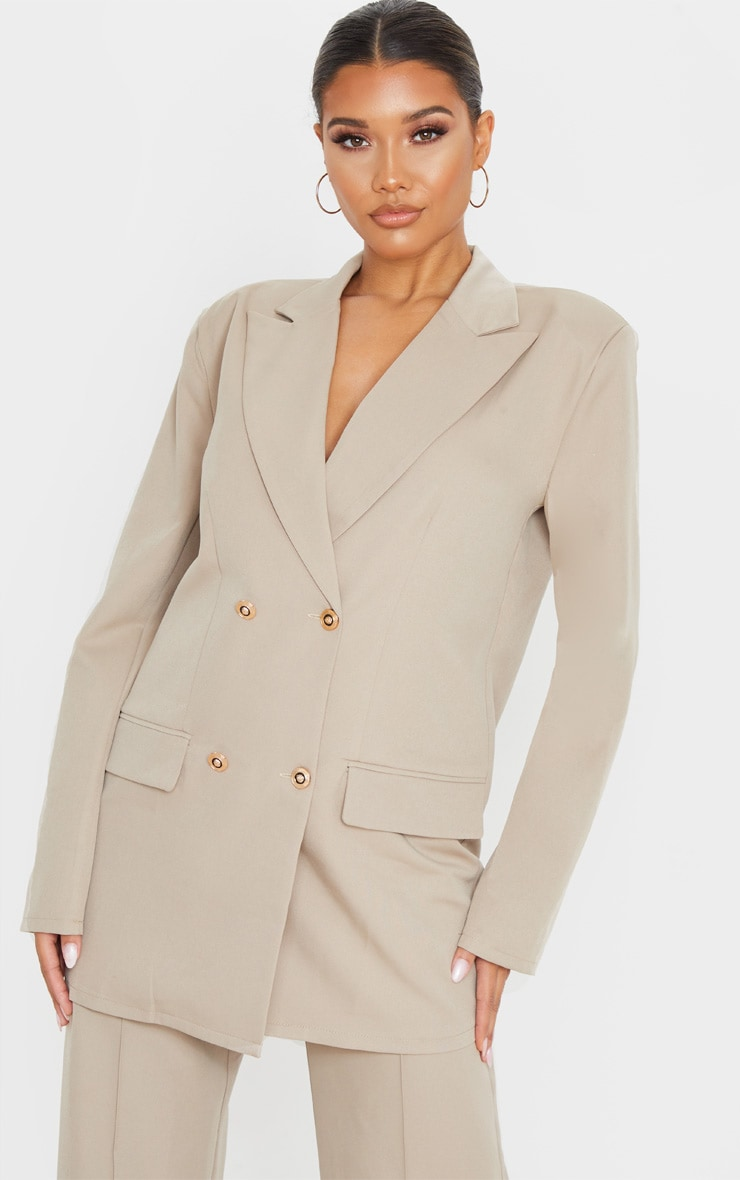 Taupe Shoulder Pad Oversized Double Breasted Blazer 1