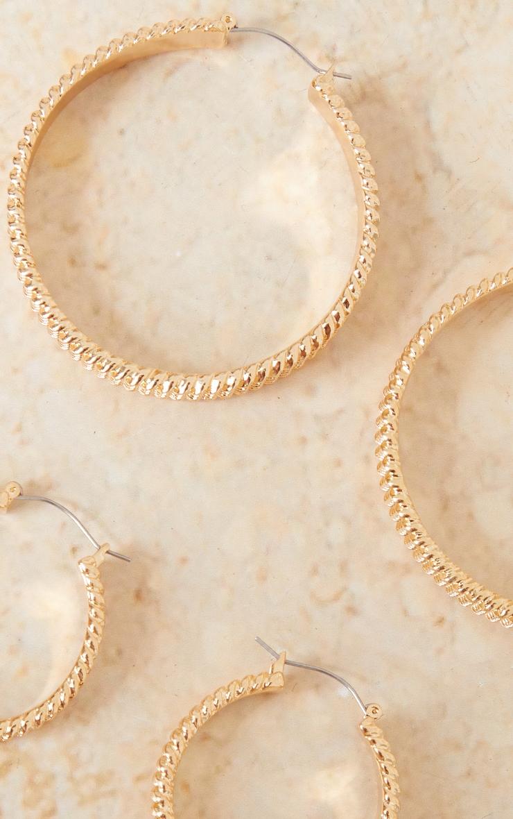 Gold Textured Ribbed 3 Pack Hoop Earrings 1