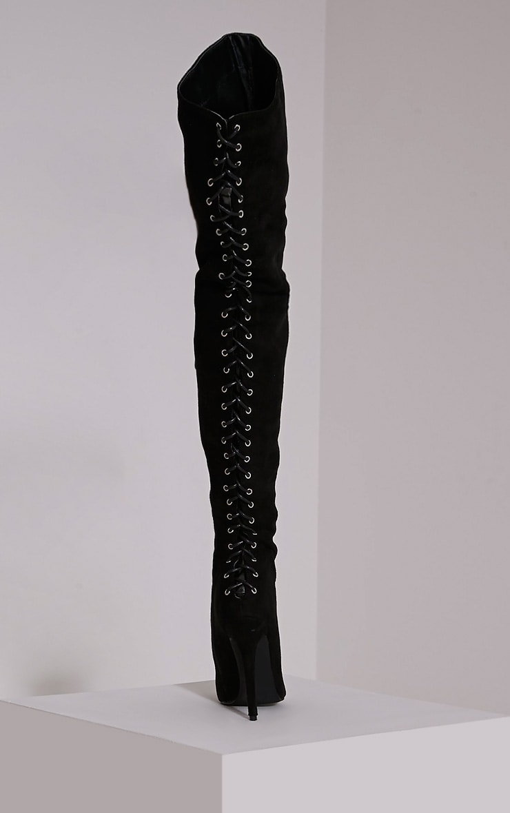 Nalah Black Suede Lace Detail Thigh High Boots 5