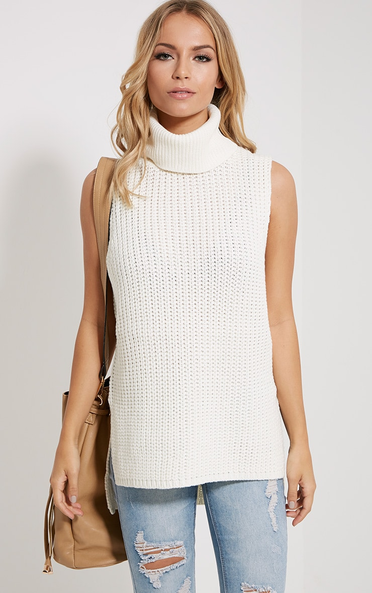 Lolla Cream Knitted Roll Neck Top 1