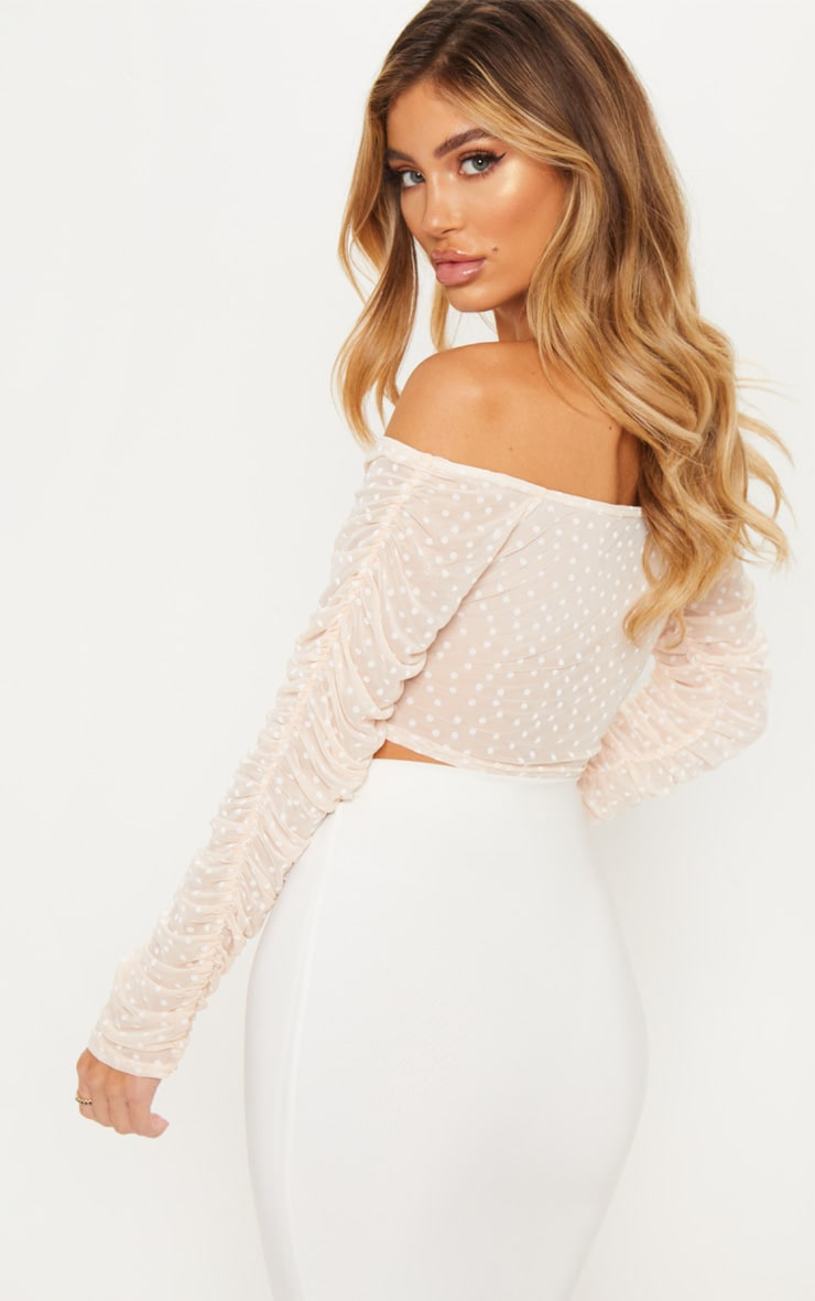 Nude Dobby Mesh Sheer Ruched Sleeve Bardot Crop Top 2
