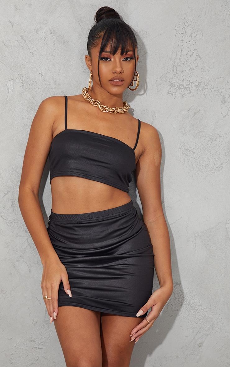 Black Slinky Wet Look Ruched Side Mini Skirt 1