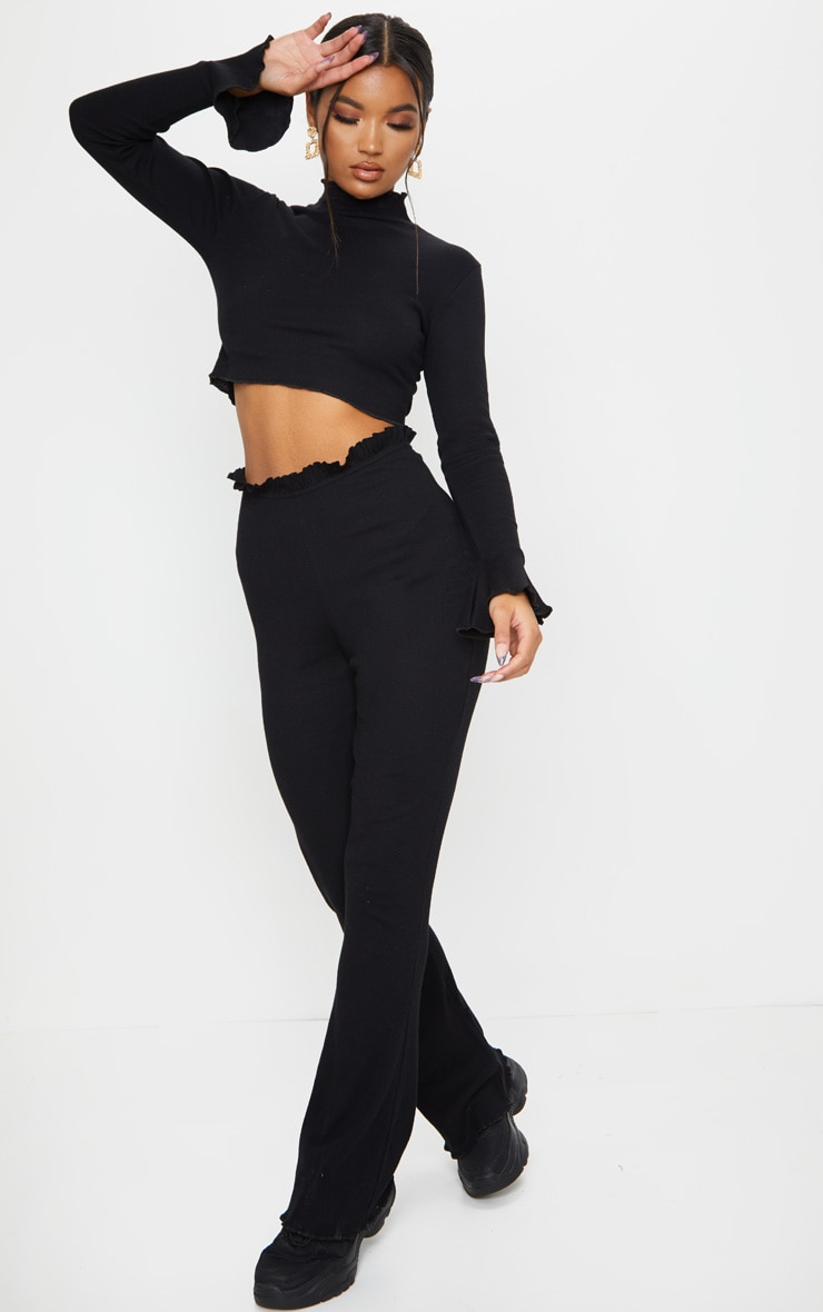 Black Rib Wide Leg Frill Detail Pants 1