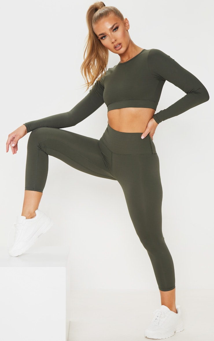 Khaki Sculpt Luxe Cropped Gym Legging 1