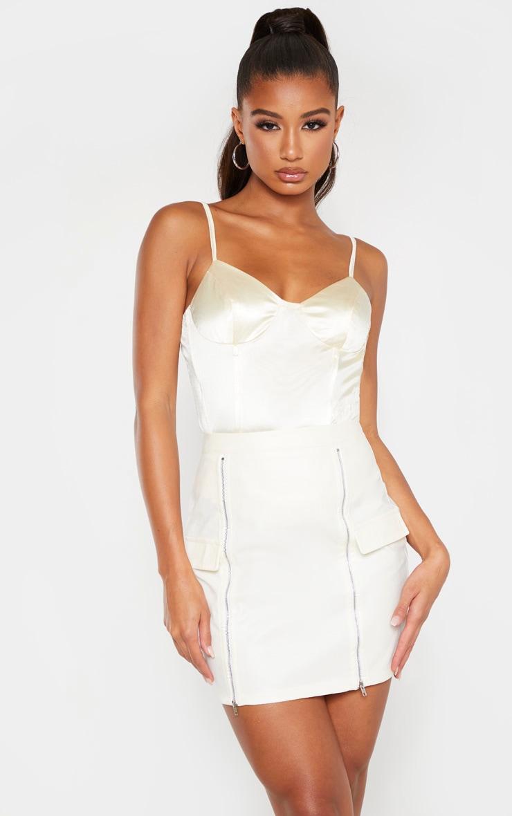 Cream Faux Leather Zip Split Detail Mini Skirt 1