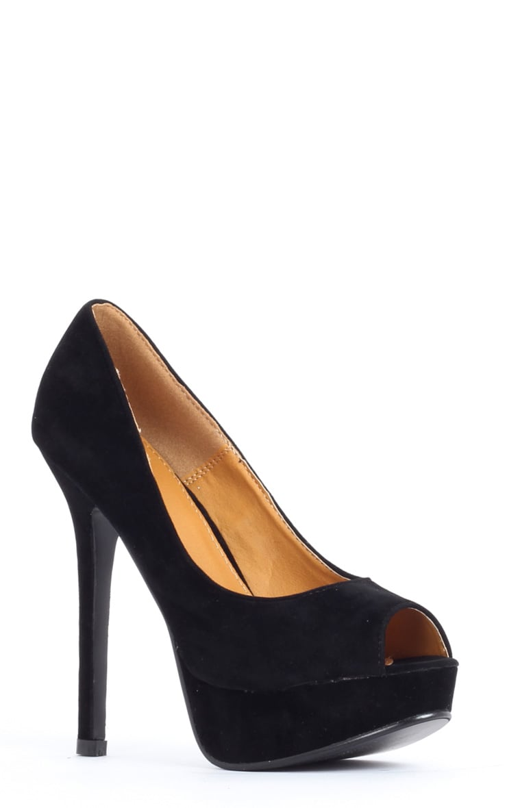 Tabitha Black Suedette Peep Toe Court Shoes 3