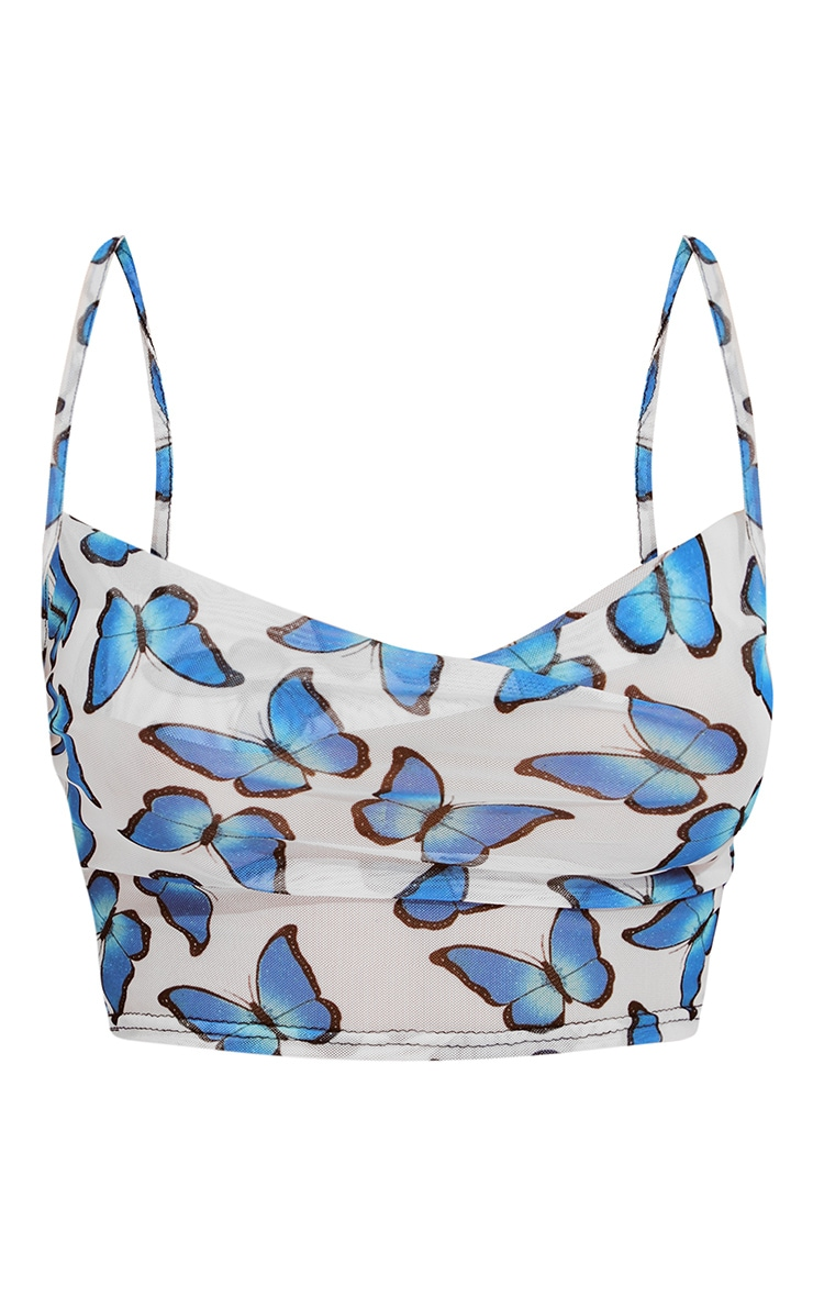 White Butterfly Print Mesh Cowl Neck Crop Top 5