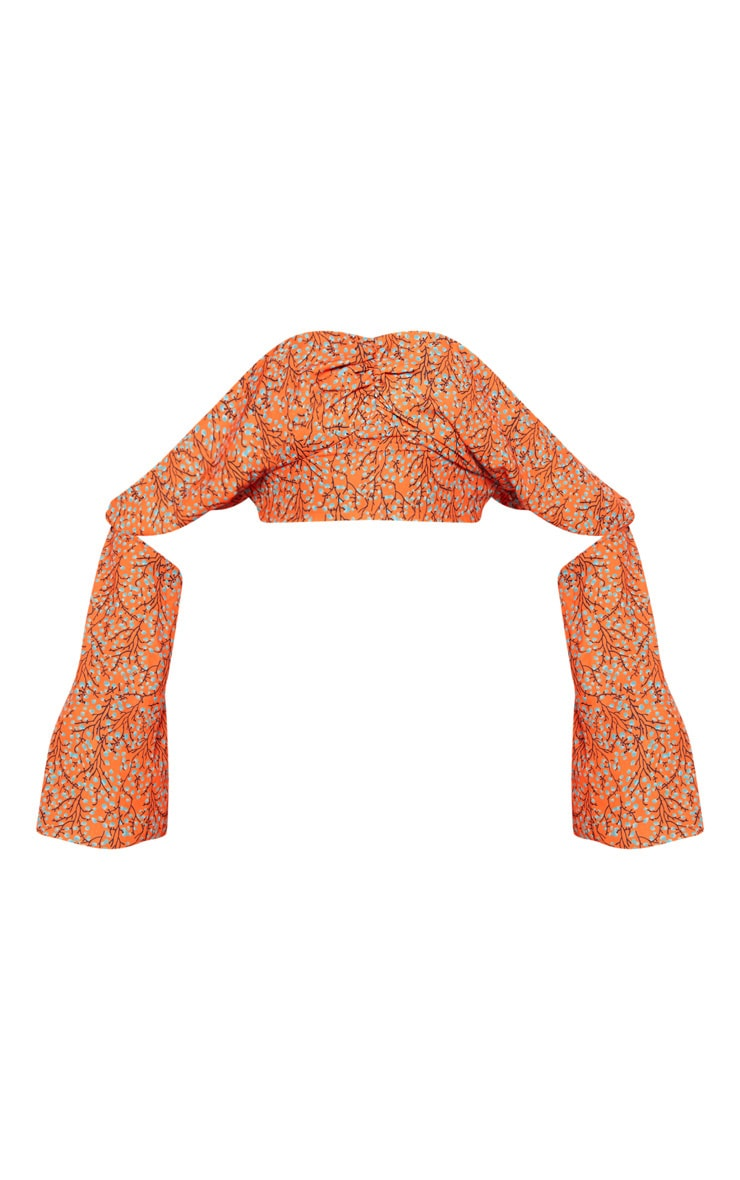 Orange Floral Print Satin Bardot Drape Detail Crop Top 3