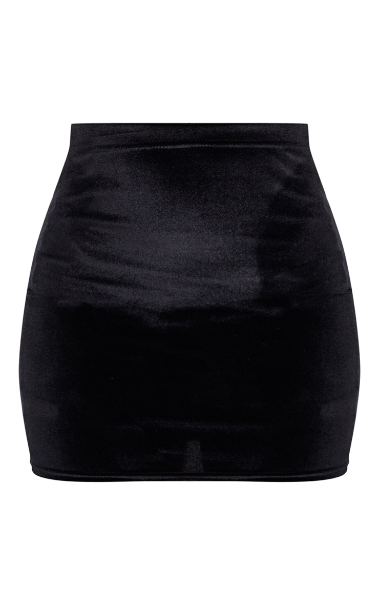 Black Basic Velvet Mini Skirt 3