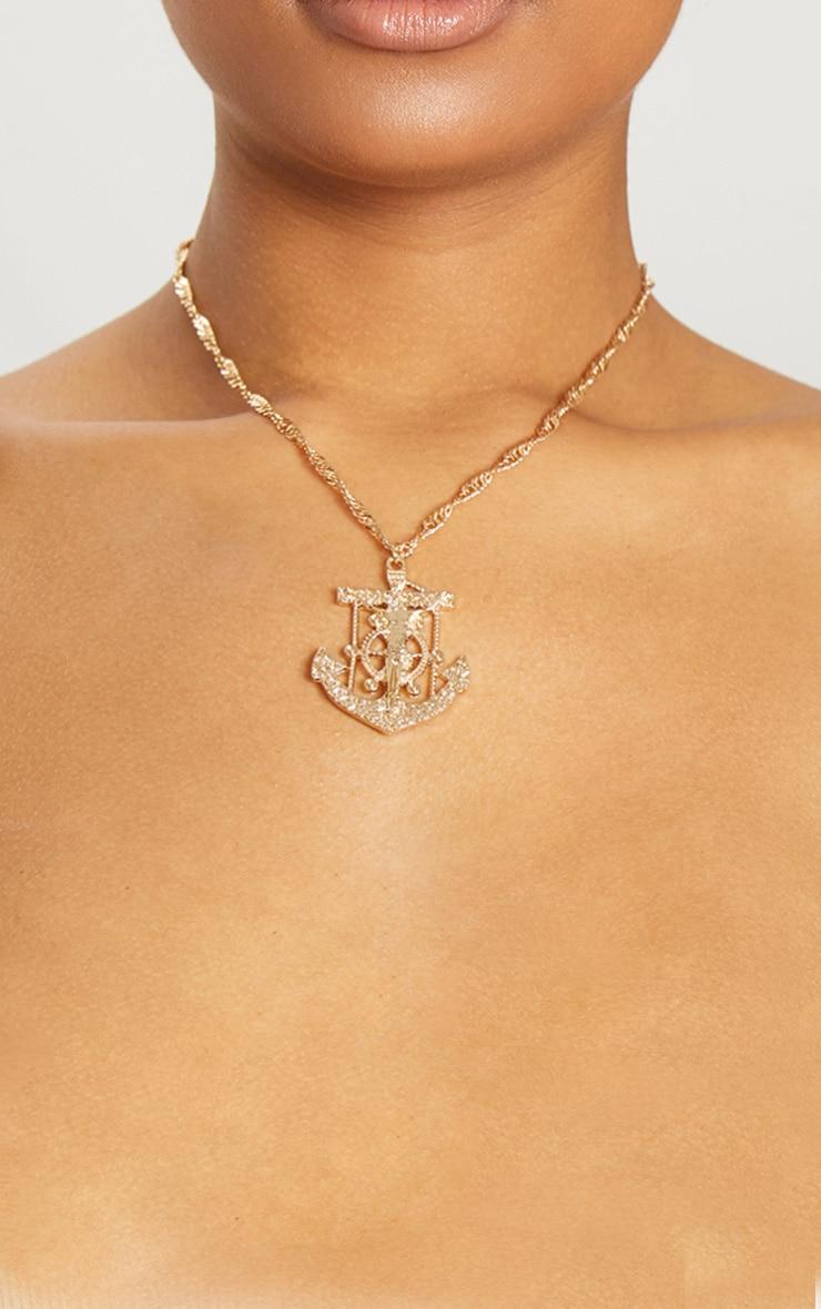 Gold Crucifix Anchor Pendant Necklace