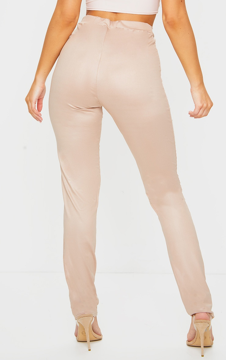 Nude Dipped Waist Wet Look Straight Leg Trousers 4