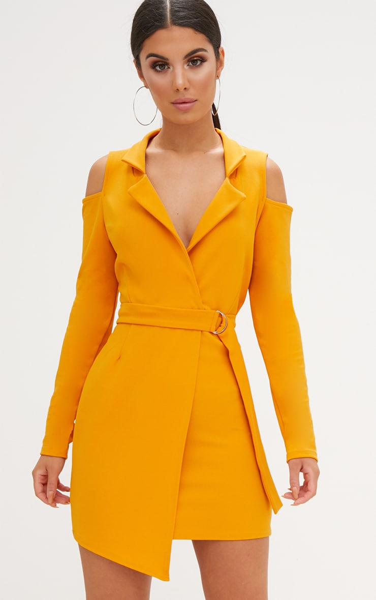 Mustard Cold Shoulder Blazer Dress 1