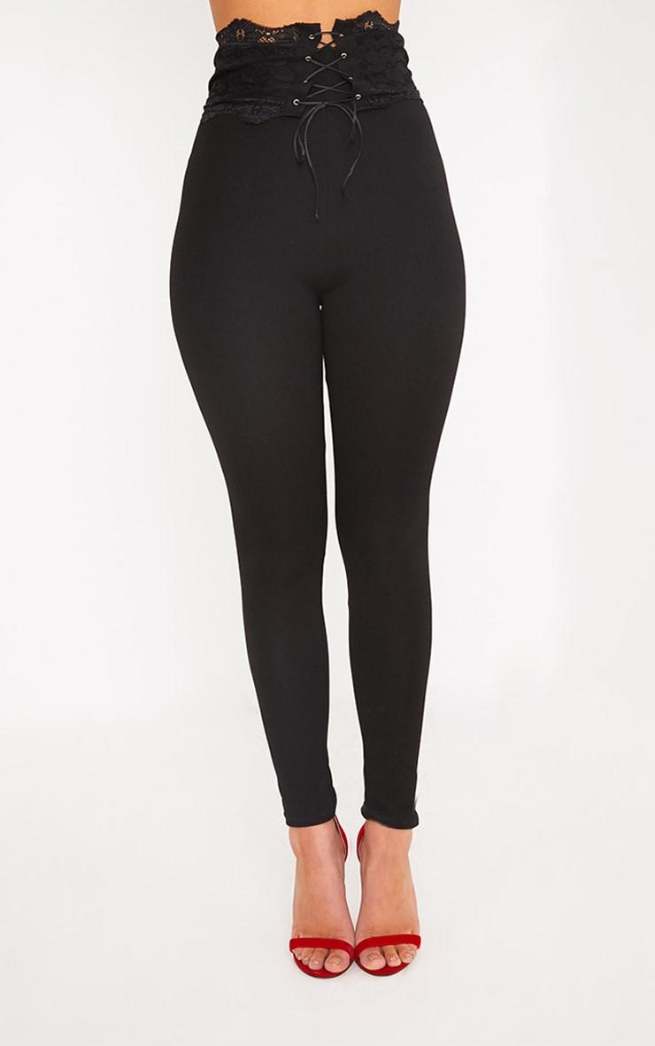 Azalea Black Lace Corset Waist Pants 2
