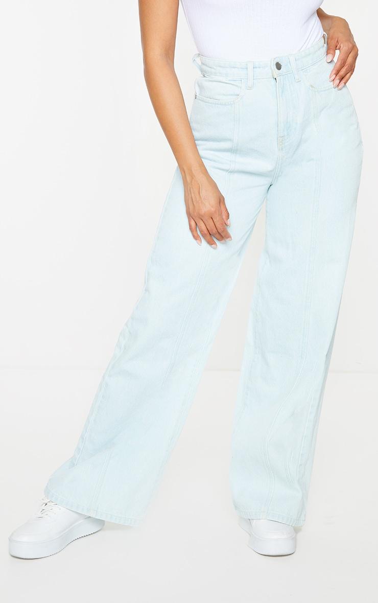 Light Blue Wash Seam Front Wide Leg Jeans 2