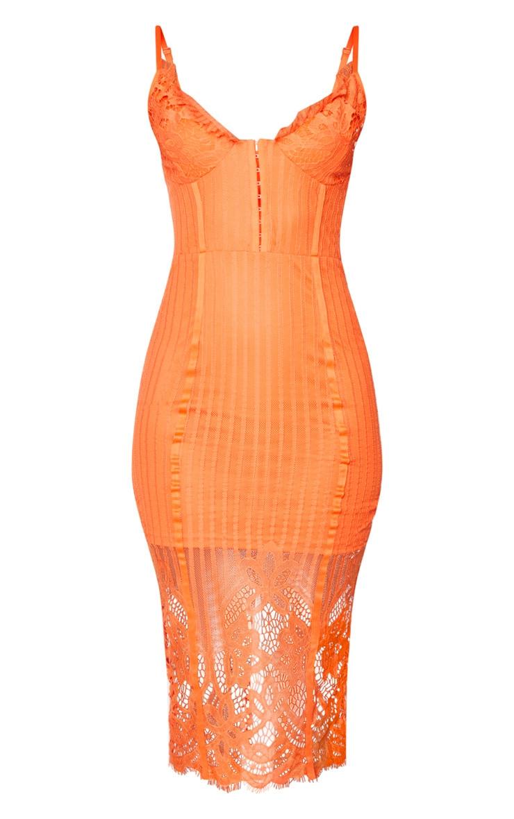 Robe mi-longue à doublure en dentelle orange et agrafes 5