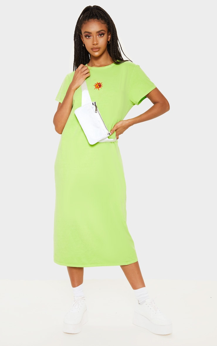 Lime Sun Embroidered Oversized T Shirt Midi Dress 1