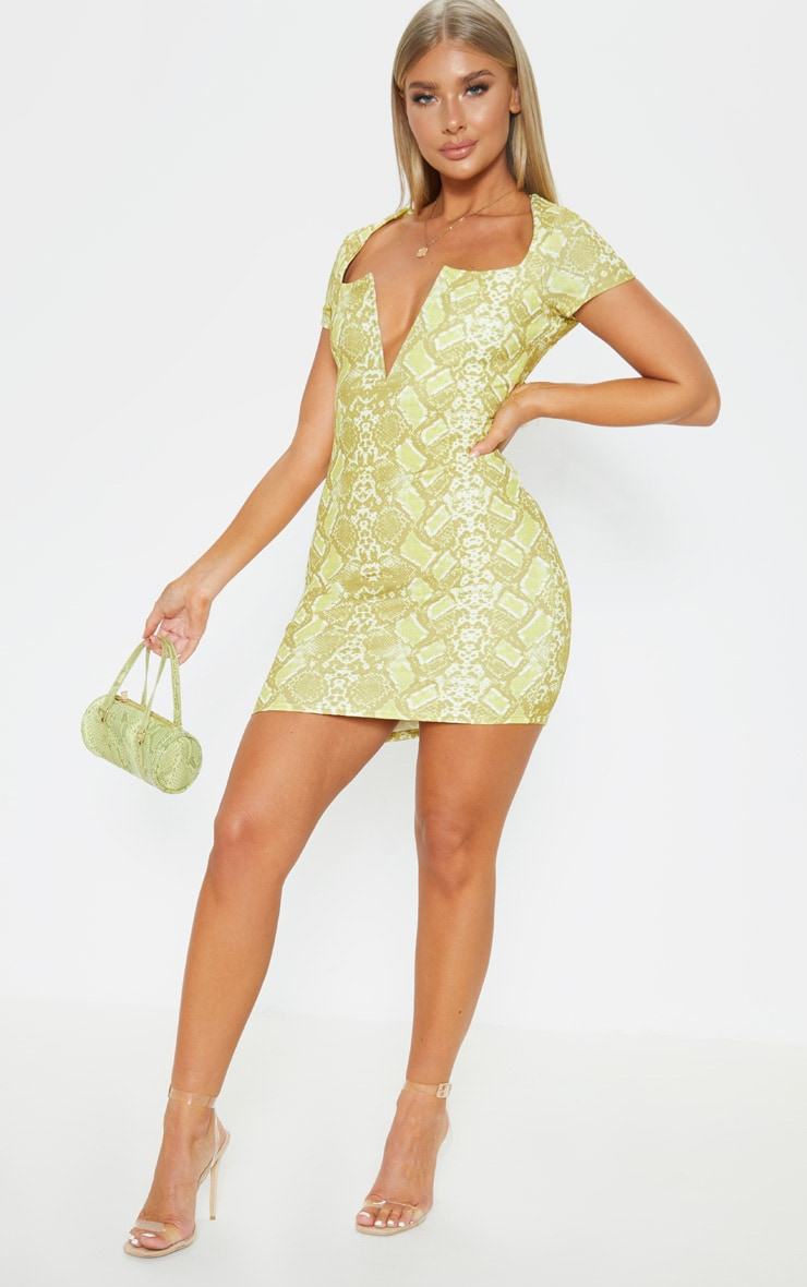 Yellow Snake Print Short Sleeve V Plunge Bodycon Dress 4