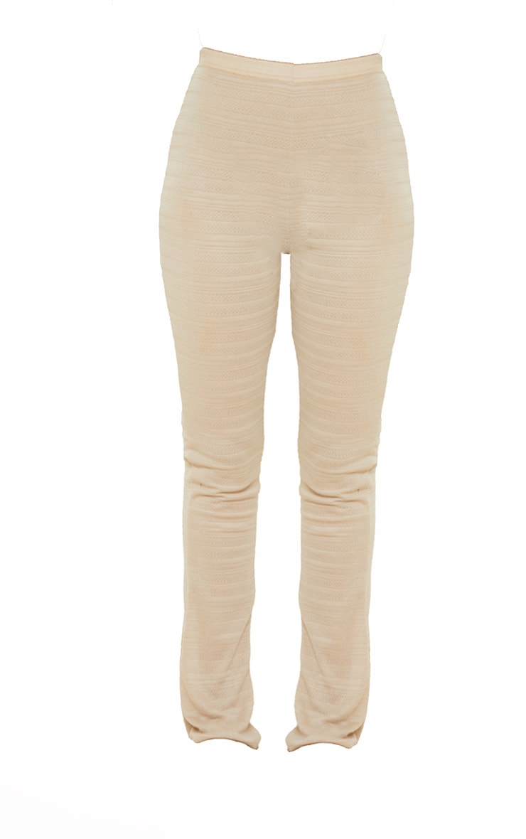 Camel Textured Skinny Flared Trousers 5