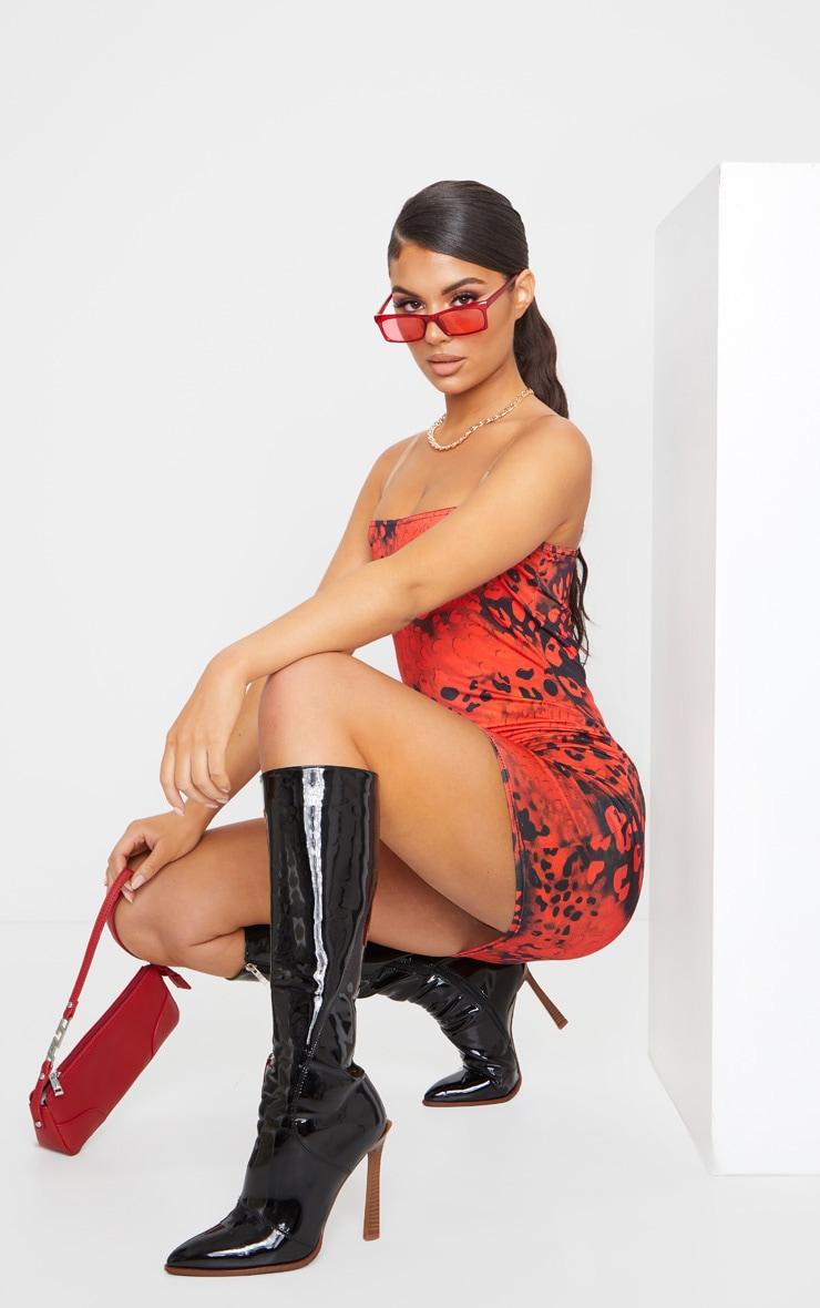 Red Leopard Print Slinky Clear Strap Bodycon Dress 3