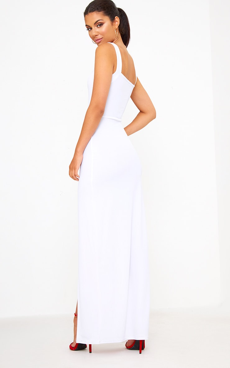 White Straight Neck Maxi Dress 2