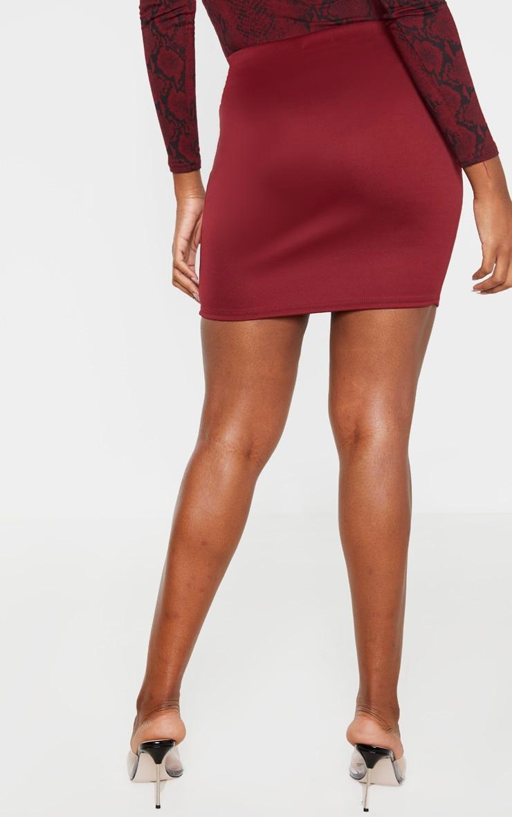 Burgundy Scuba Mini Skirt  4