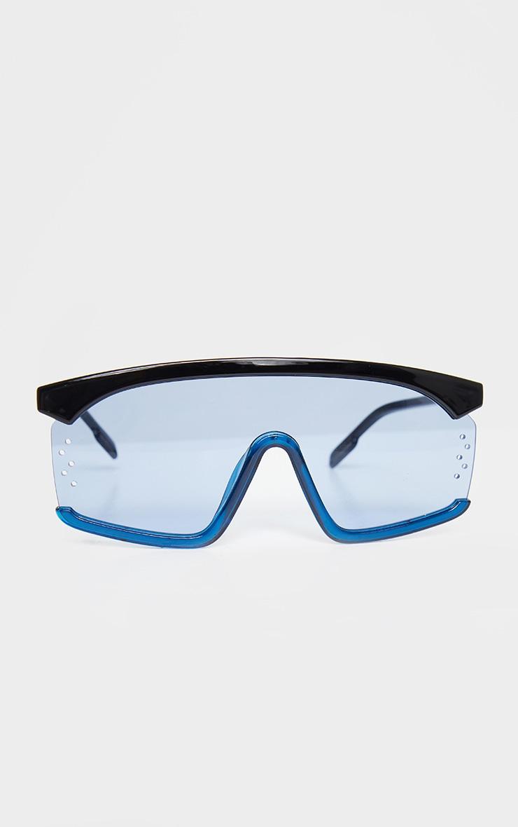 Blue Oversized Exposed Frame Sunglasses 1