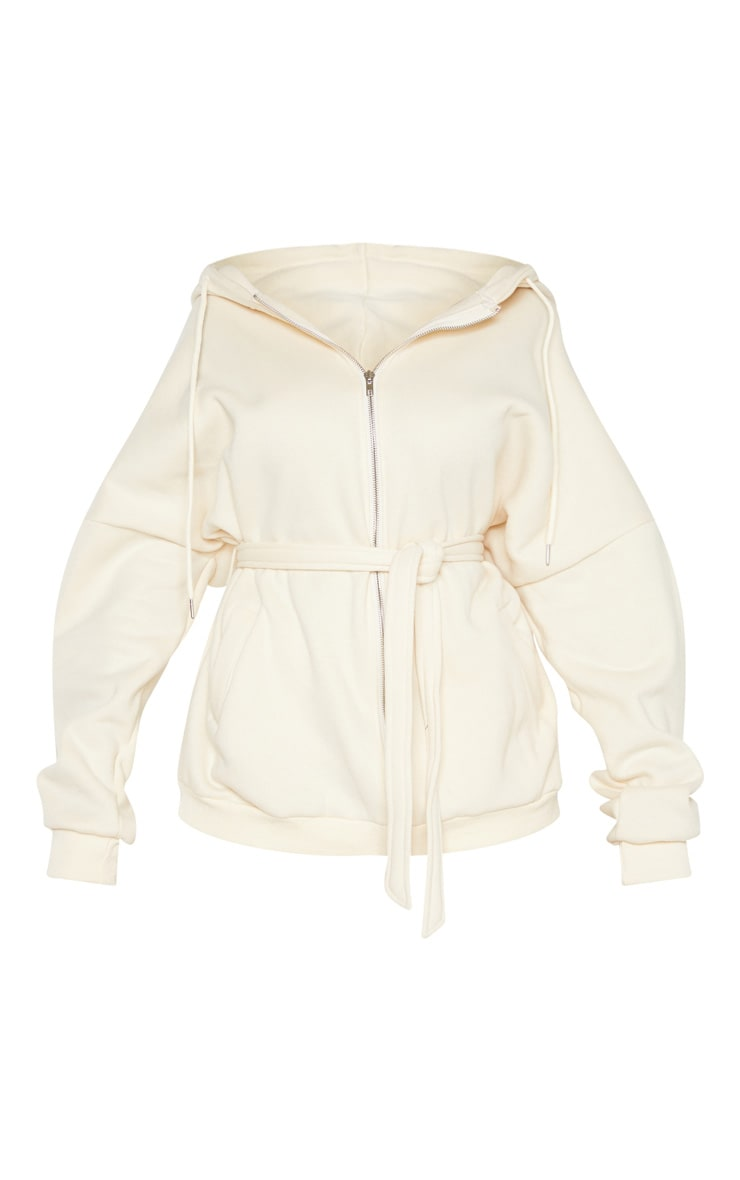 Cream Oversized Belted Sweat Hoodie 3