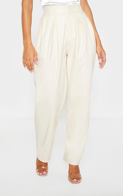 Cream Faux Leather Pleat Cigarette Trouser