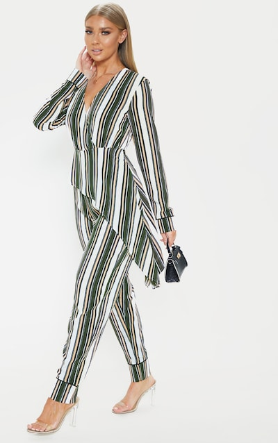 2ea7d085390 Multi Stripe Drape Detail Long Sleeve Jumpsuit