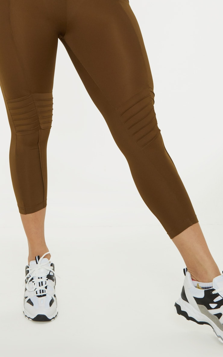 Khaki Ribbed Detail Gym Legging 5
