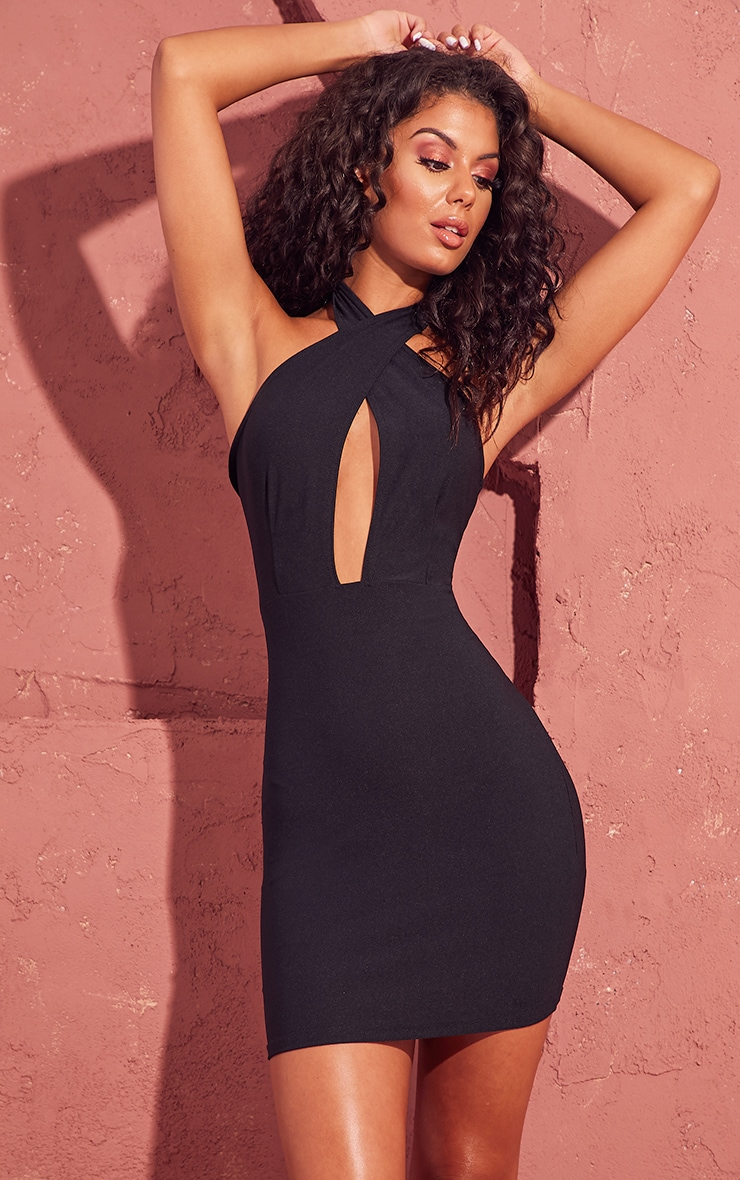 Black Cross Neck Bodycon Dress 1