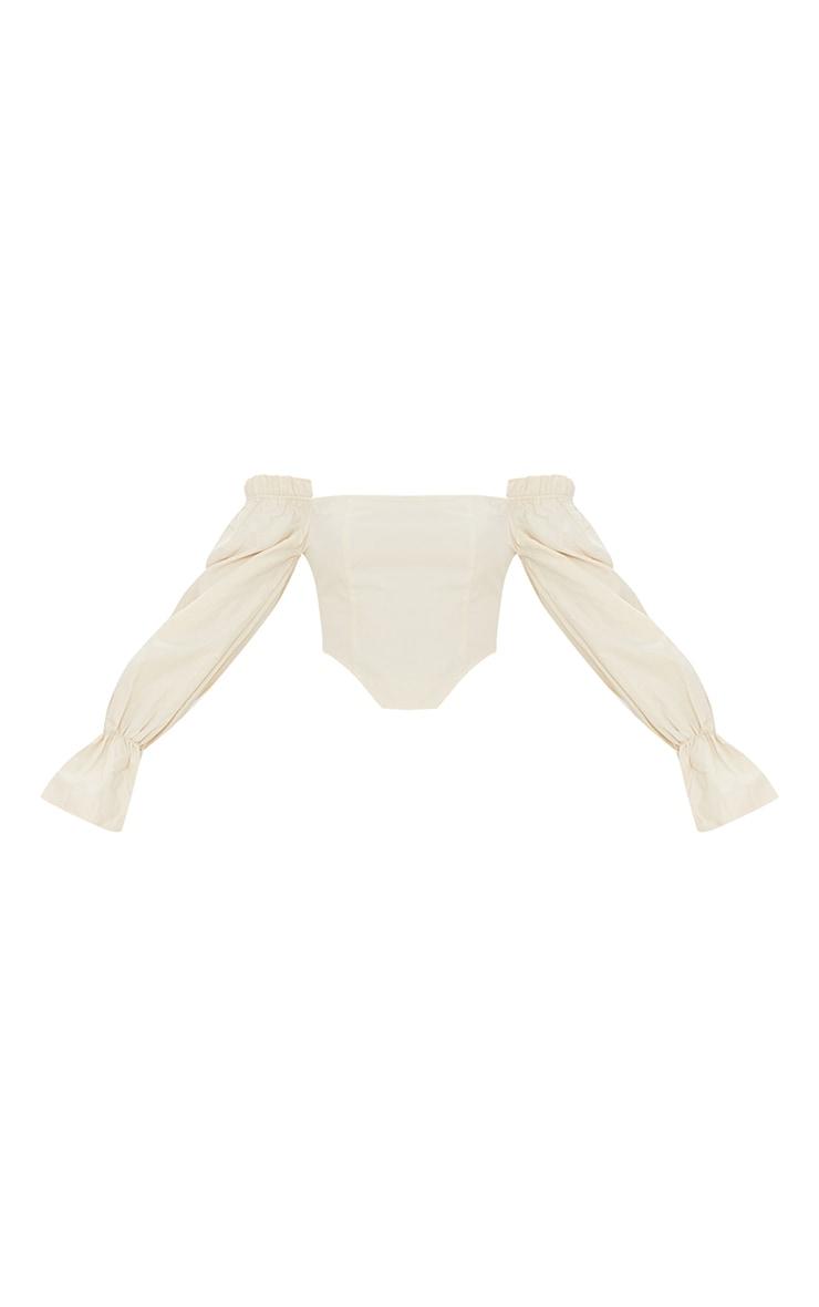 Cream Cotton Bardot Frill Sleeve Crop Top 5
