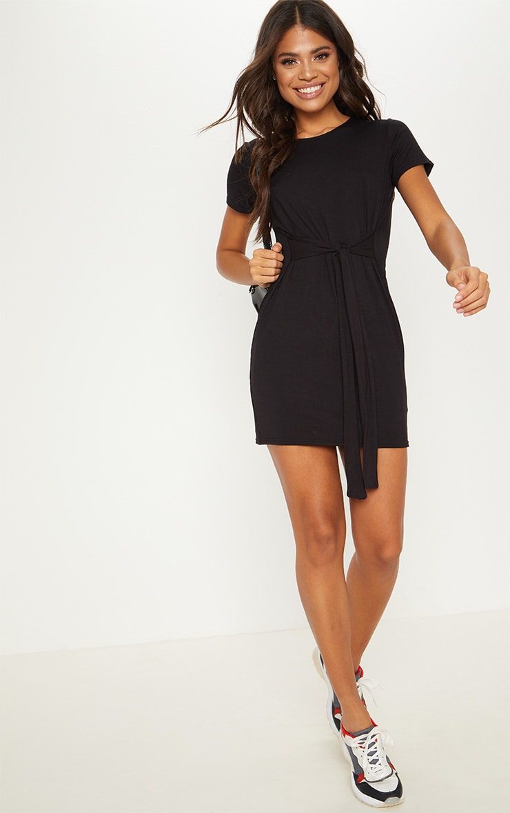Black Tie Waist Oversized T Shirt Dress 4