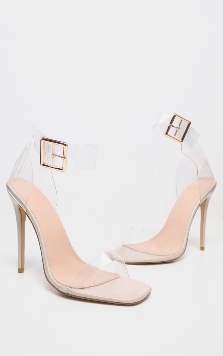 Clear Square Toe Cuff Detail Strappy Sandal 3