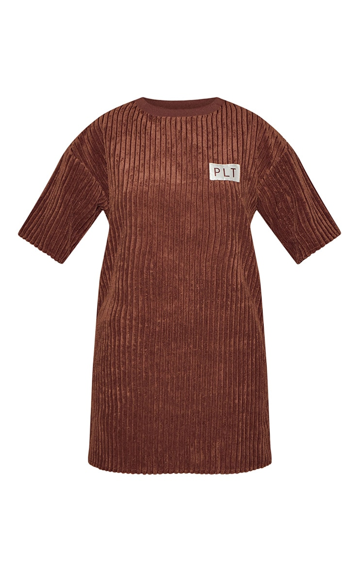 PRETTYLITTLETHING Chocolate Thick Cord T Shirt Dress 5