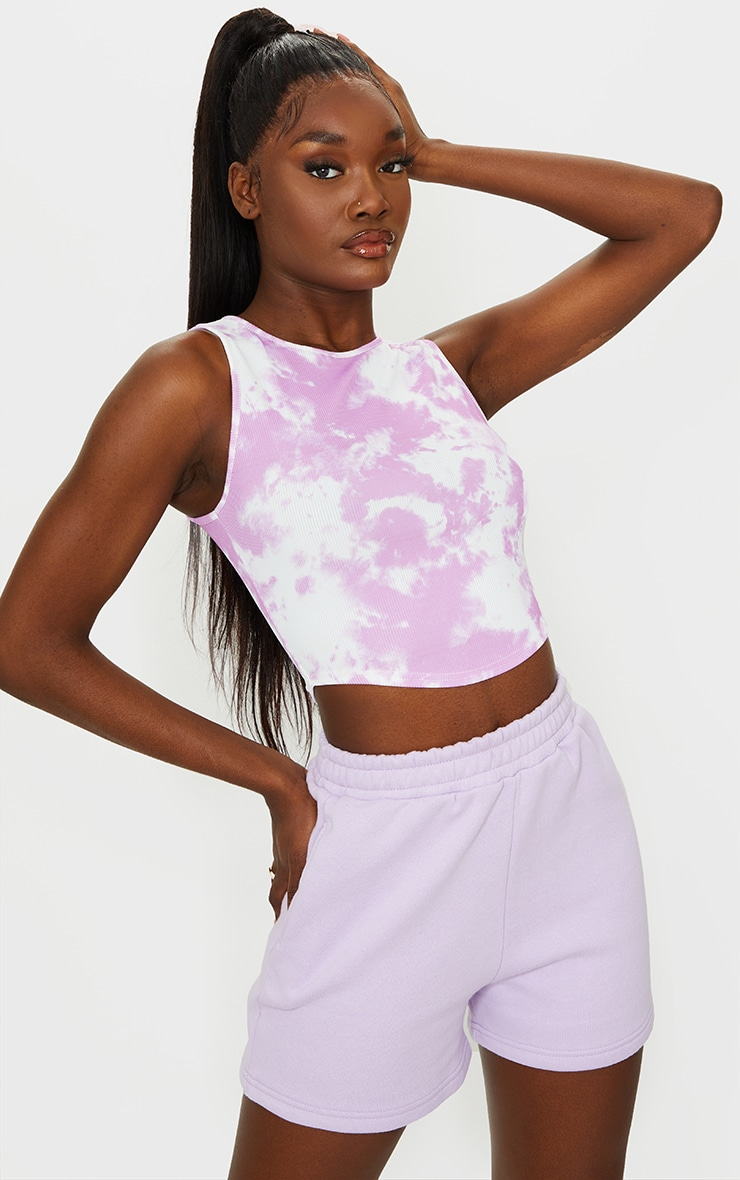 Tall Lilac Tie Dye Rib Racer Neck Crop Top 1