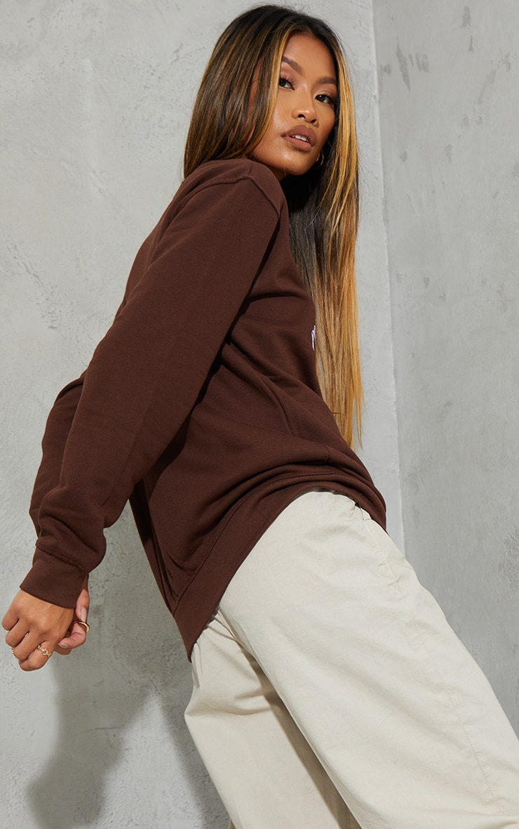 PRETTYLITTLETHING Chocolate Social Club Embroidered Sweatshirt 2