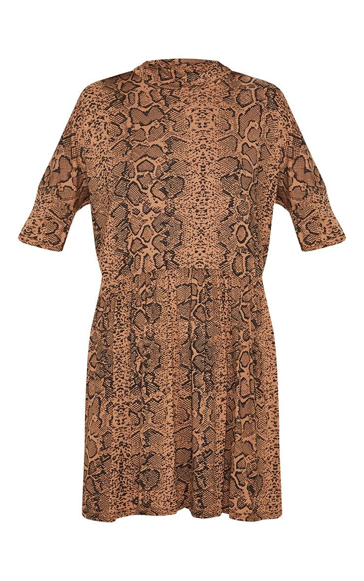 Beige Snake Print High Neck Smock Dress 3