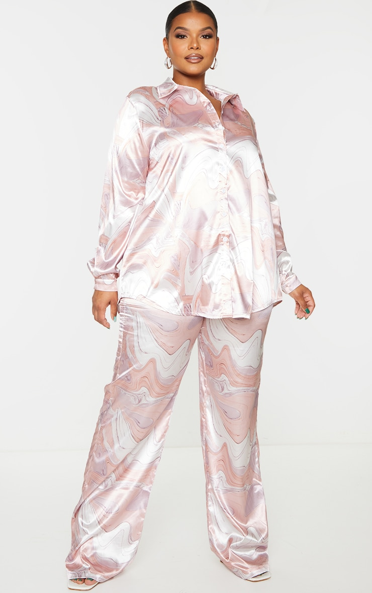 Plus Baby Pink Marble Print Wide Leg Trouser image 1