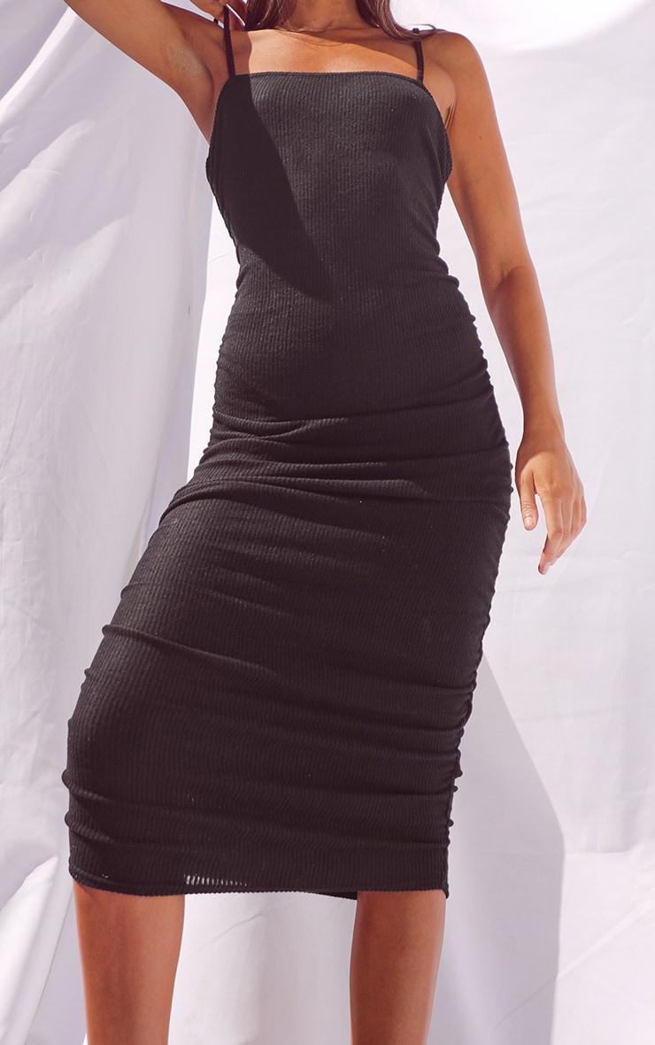 Black Brushed Rib Strappy Ruched Midi Dress 4
