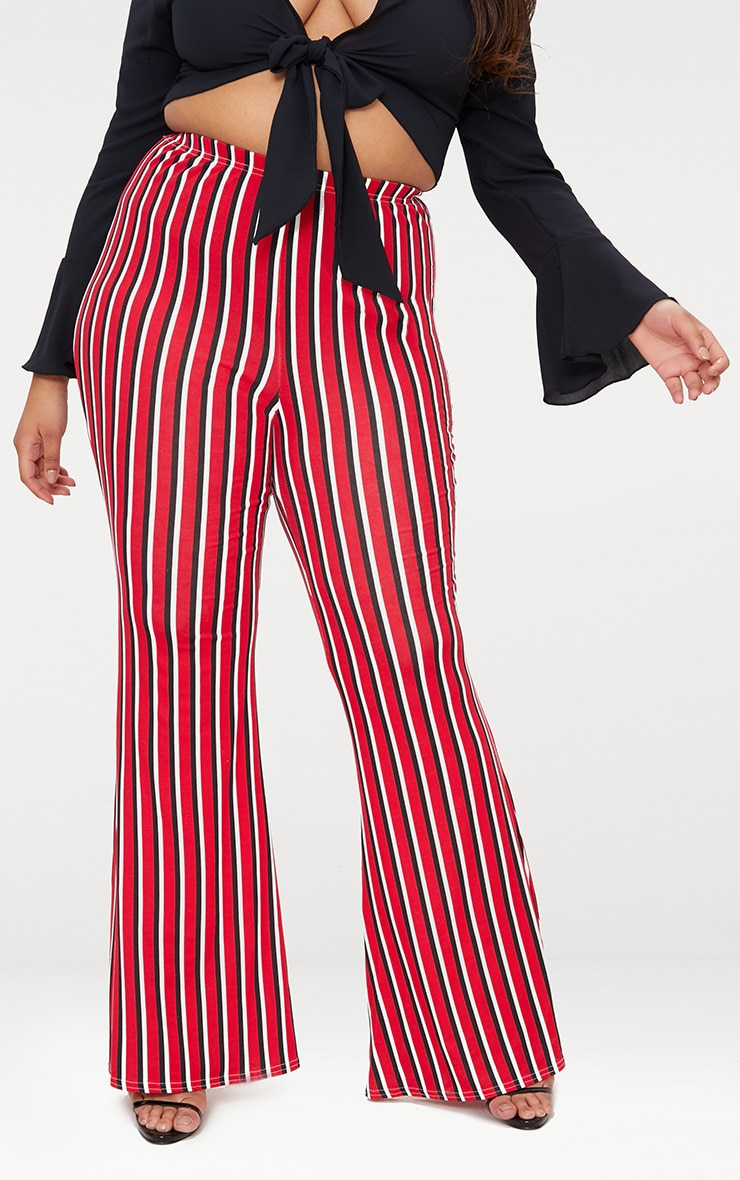 Plus Red Vertical Stripe Flared Trousers 2