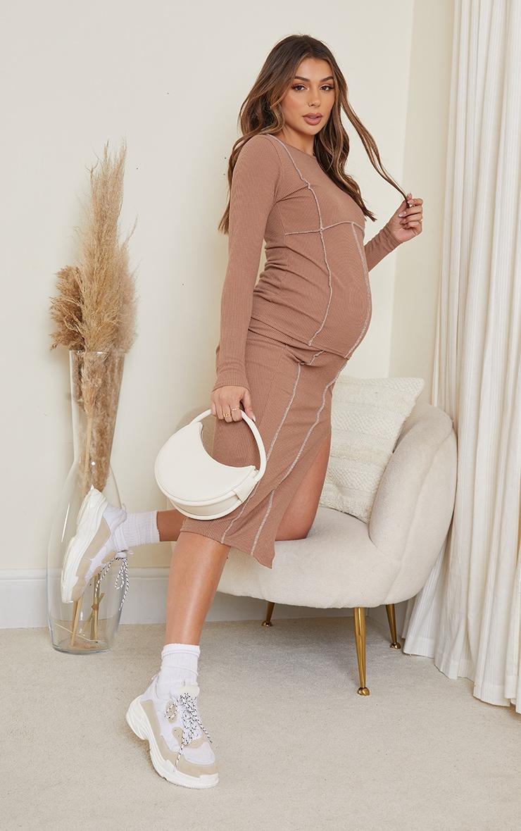 Maternity Brown Crinkle Rib Seam Detail Long Sleeve Top 3